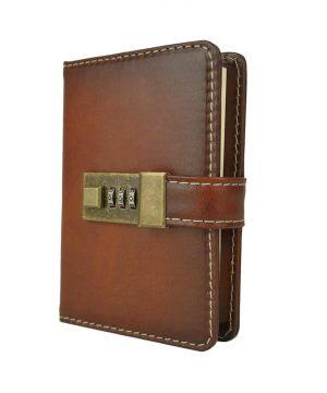 Menší Zápisník z prírodnej kože na heslový zámok, ručne tieňovaný, cigarová farba