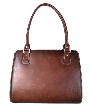 Exkluzívna kožená kabelka 8614 ručne tamponovaná a tieňovaná v Cigaro farbe