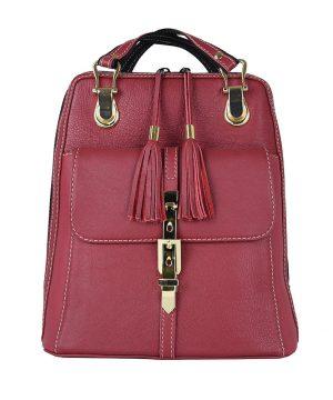 Moderný dámsky kožený ruksak z prírodnej kože v bordovej farbe,,