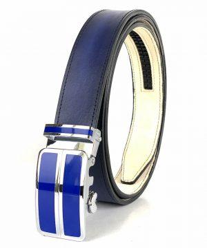 Modrý kožený opasok s automatickým zapínaním BLUE_2 - LIMITED EDITION