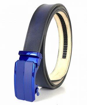 Modrý kožený opasok s automatickým zapínaním BLUE_3 - LIMITED EDITION