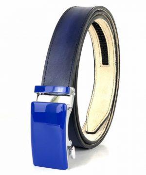 Modrý kožený opasok s automatickým zapínaním BLUE_4 - LIMITED EDITION
