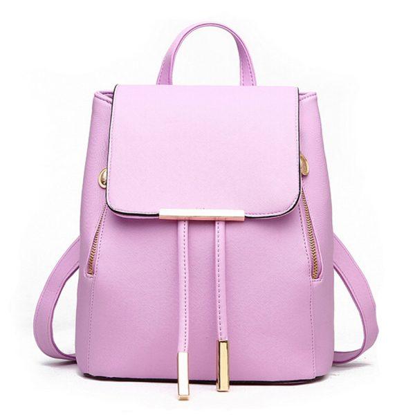 Nádherný kožený dámsky ruksak vo fialovej farbe