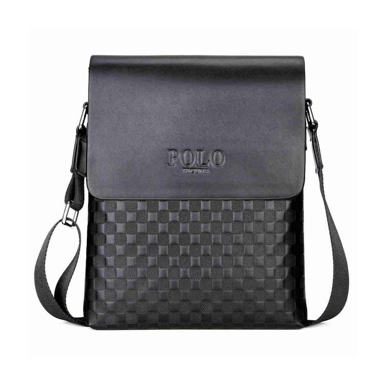 58b411e514 Pánska kožená taška cez rameno POLO v čiernej farbe