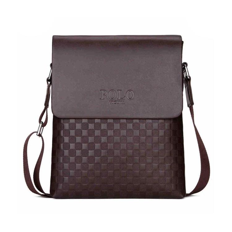 04db83fbb5 Pánska kožená taška cez rameno POLO v hnedej farbe