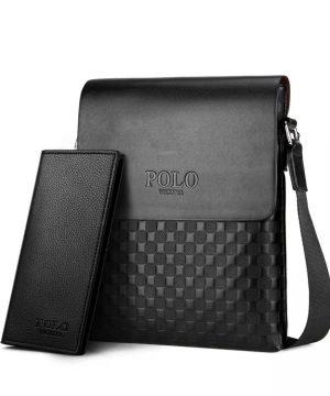 Pánska kožená taška cez rameno + peňaženka POLO v čiernej farbe