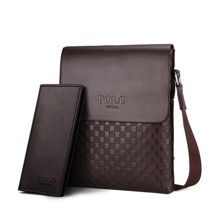 3f7527046 Pánska kožená taška cez rameno + peňaženka POLO v hnedej farbe ...