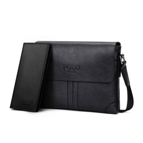 Pánska kožená taška + peňaženka HORIZONTAL POLO cez rameno v čiernej farbe