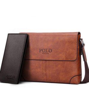 Pánska kožená taška + peňaženka HORIZONTAL POLO cez rameno v khaki farbe