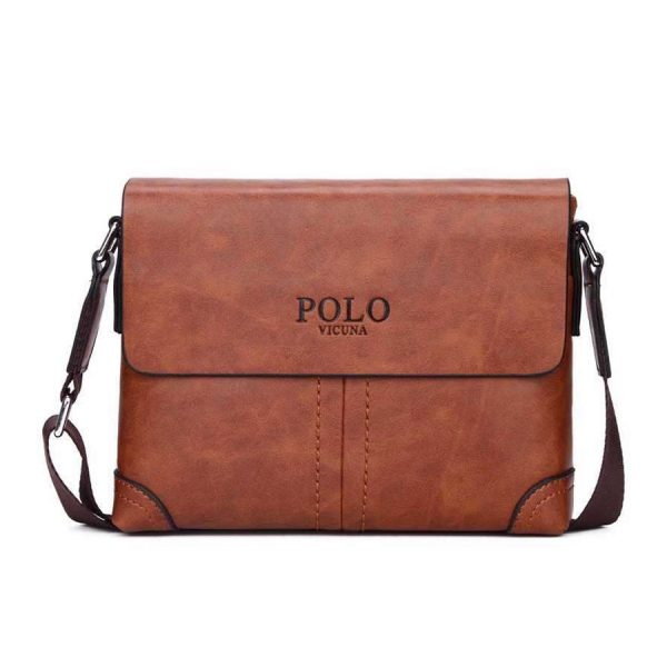 Pánska pracovná kožená taška HORIZONTAL POLO cez rameno v khaki farbe