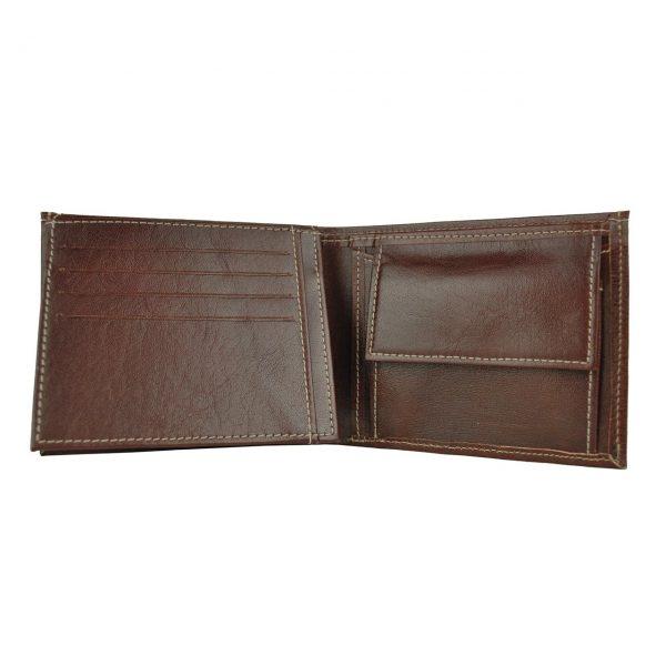 Elegantná peňaženka z pravej kože č.8408 v tmavo hnedej farbe