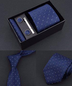 Pánsky set – kravata + vreckovka + manžetové gombíky + spona na kravatu, model_01