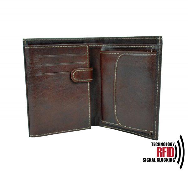 Kožená RFID peňaženka v tmavo hnedej farbe č.8560