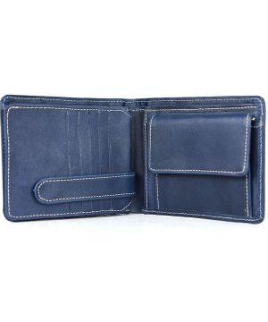 Peňaženka z prírodnej kože č.7992 v modrej farbe, ručne tamponovaná,