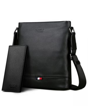 Praktická kožená taška cez rameno + peňaženka v čiernej farbe