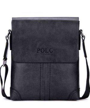 Retro kožená taška cez plece POLO SMALL v čiernej farbe