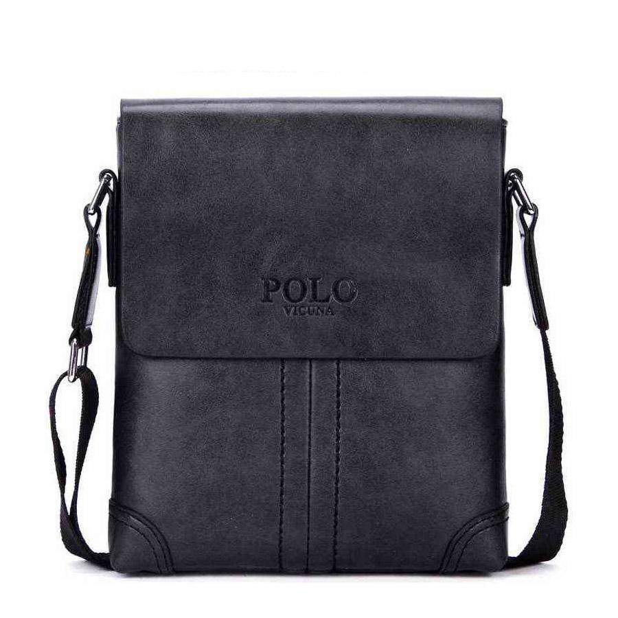 5c994c738d Retro kožená taška cez plece POLO SMALL v čiernej farbe