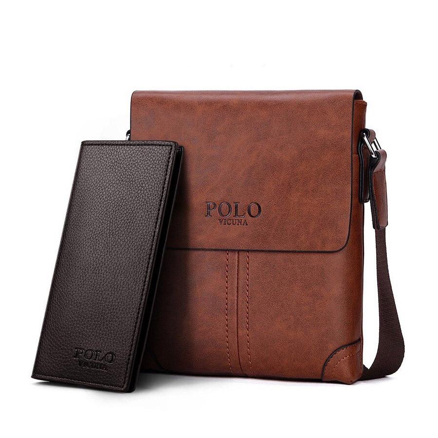 41902500ad 45.90 € s DPH. Retro kožená taška cez plece + peňaženka POLO SMALL v hnedej  farbe.