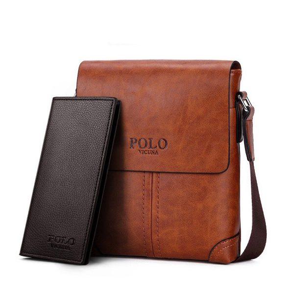 Retro kožená taška cez plece + peňaženka POLO SMALL v khaki farbe