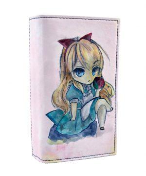 Ručne maľovaná kožená peňaženka s motívom Dievčatko s jablkom