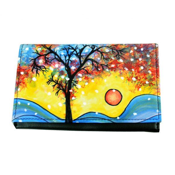 Ručne maľovaná peňaženka 8542 s motívom Zima. Elegantná a originálna ručne maľovaná peňaženka vyrobená z pravej talianskej kože