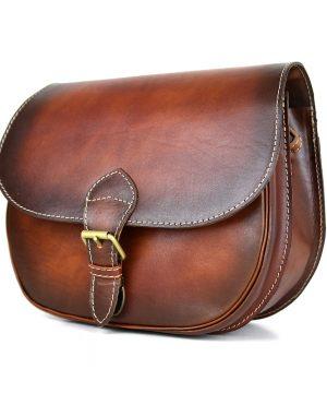 Unikátna kožená crossbody kabelka v Cigaro farbe 7403, ručne tieňovaná
