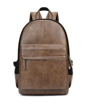 Unisex mestský ruksak z kože v hnedej farbe