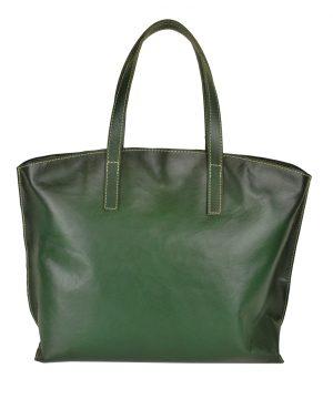 Veľko kožená kabelka SHOPPER BAG, ručne farbená a tieňovaná, tmavo zelená