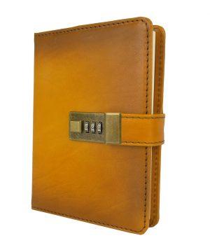 Zápisník z prírodnej kože na heslový zámok, ručne tieňovaný, žltá farba