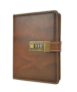 Veľký kožený zápisník z prírodnej kože na heslový zámok, ručne tieňovaný, hnedá flakatá farba