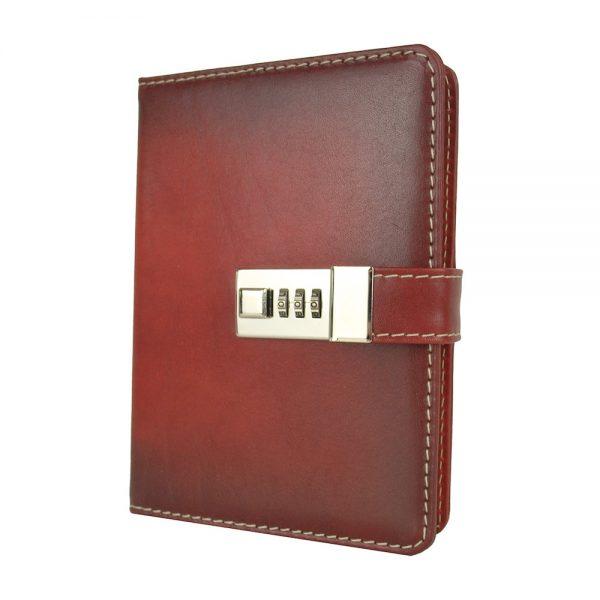 Zápisník z prírodnej kože na heslový zámok, ručne tieňovaný, tmavo červená farba