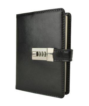 Veľký zápisník z prírodnej kože na heslový zámok, čierna farba..