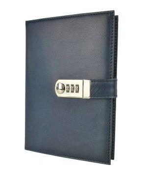 XXL kožený zápisník z prírodnej kože na heslový zámok, ručne tieňovaný, tmavo modrá farba