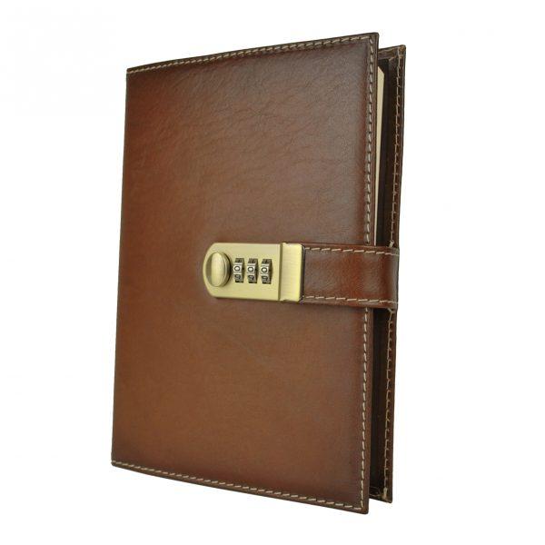 XXL zápisník z prírodnej kože na heslový zámok, ručne tieňovaný, hnedá farba