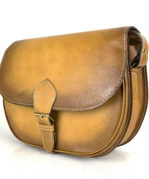Kožená kabelka v žltej farbe, ručne tieňovaná, uzatváranie - vyťahovací zámok + pracka
