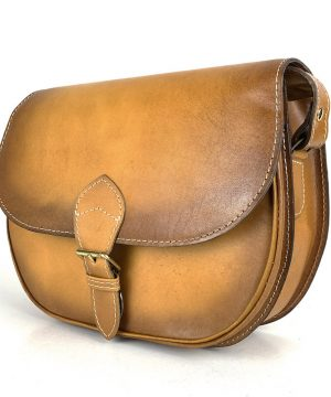 Žltá kožená kabelka, ručne tieňovaná, uzatváranie – vyťahovací zámok.