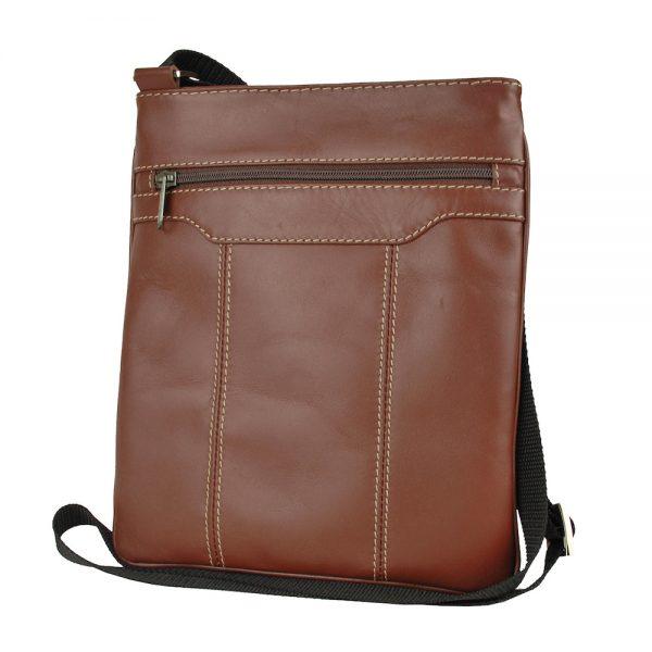 Crossbody kožená taška s dekoračným prešívaním v hnedej farbe