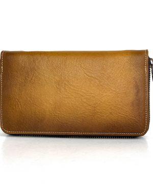 Dámska nákupná kožená peňaženka č.8606 ručne tieňovaná v žltej farbe