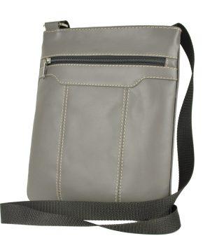 Crossbody kožená taška s dekoračným prešívaním v šedej farbe
