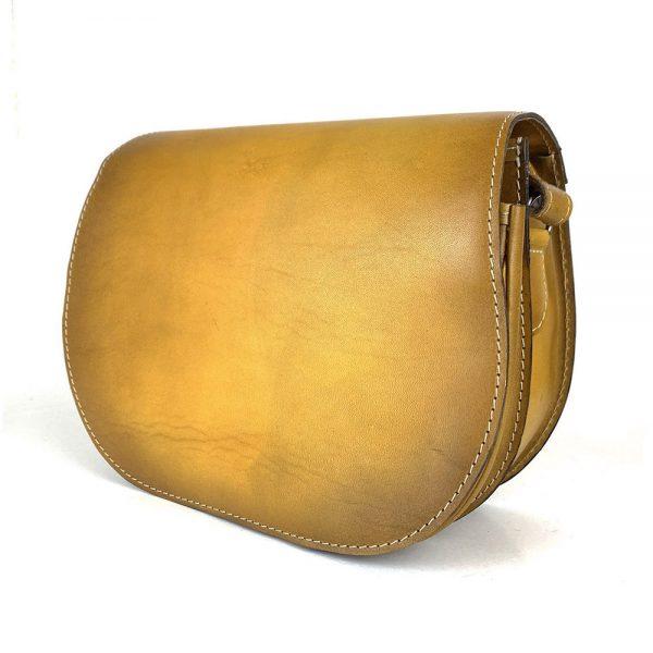 Kožená kabelka v žltej farbe, ručne tieňovaná, uzatváranie - skrytý magnet
