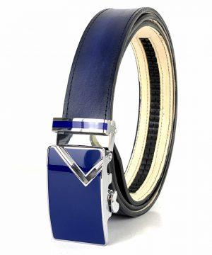 Modrý kožený opasok z pravej kože s automatickou prackou BLUE_1 - LIMITED EDITION.