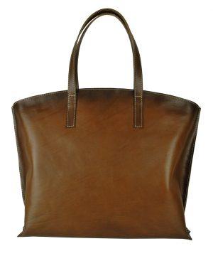 Kožená kabelka veľká na plece SHOPPER BAG, ručne tieňovaná, hnedá