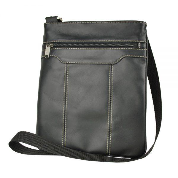 Crossbody kožená taška s dekoračným prešívaním v čiernej farbe